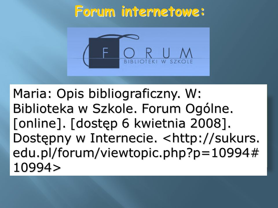 Forum internetowe: