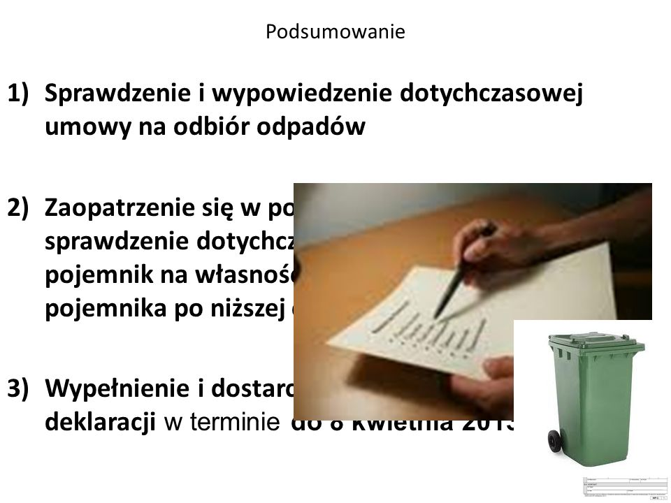 Sprawdzenie i wypowiedzenie dotychczasowej umowy na odbiór odpadów