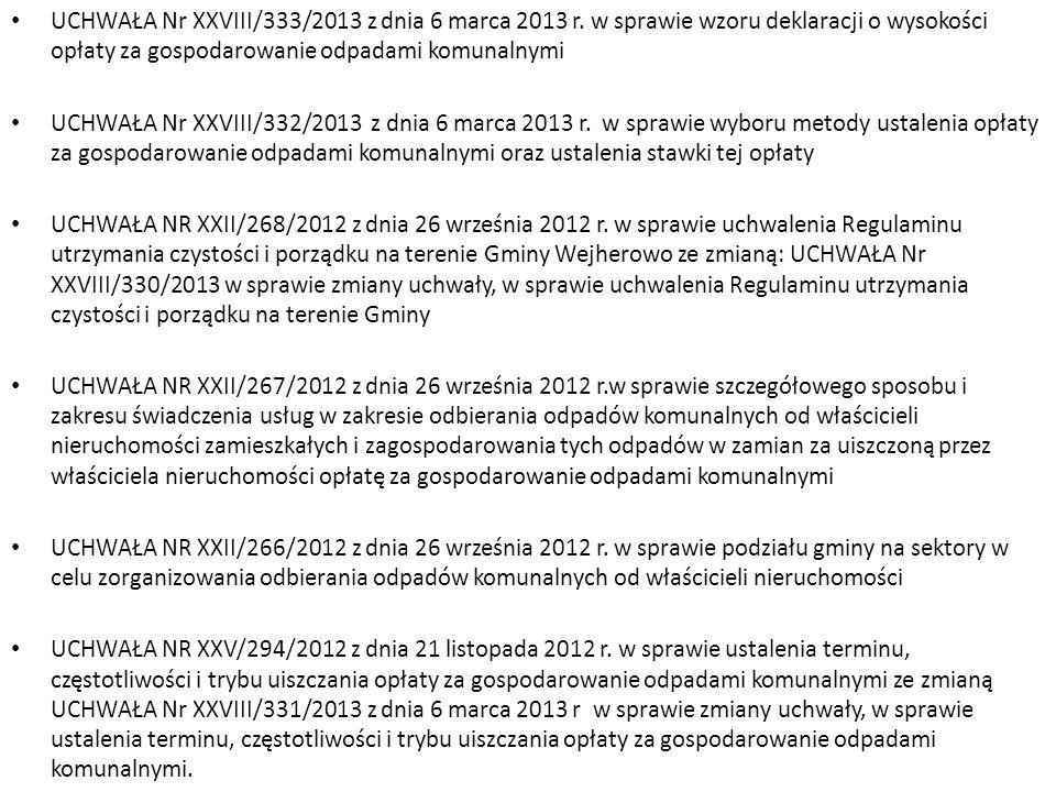 UCHWAŁA Nr XXVIII/333/2013 z dnia 6 marca 2013 r