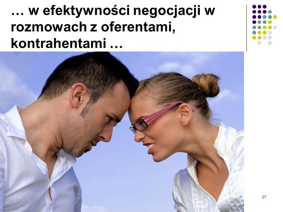 … w efektywności negocjacji w rozmowach z oferentami, kontrahentami …