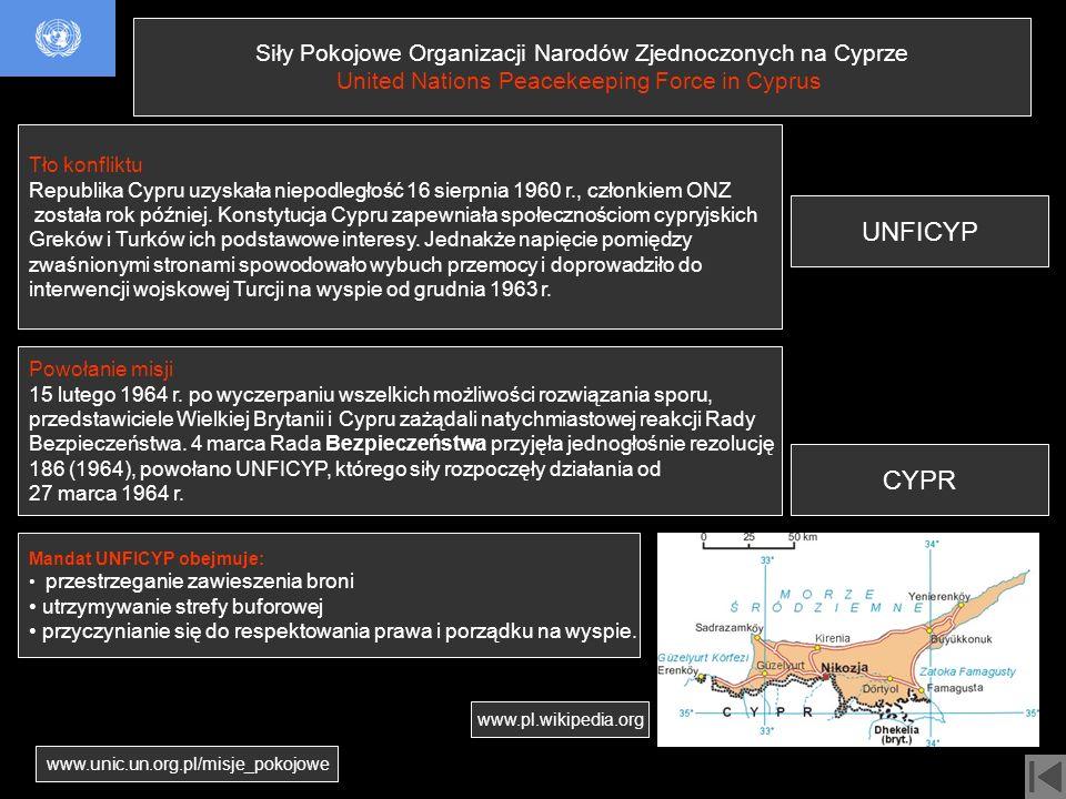 UNFICYP CYPR Siły Pokojowe Organizacji Narodów Zjednoczonych na Cyprze