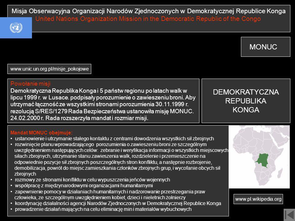 MONUC DEMOKRATYCZNA REPUBLIKA KONGA