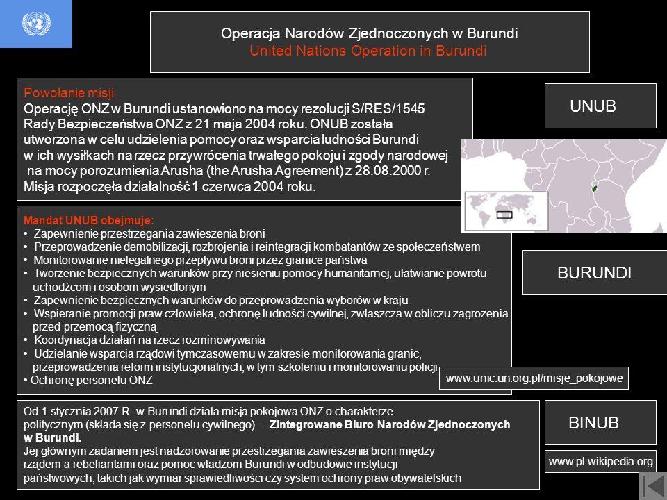 UNUB BURUNDI BINUB Operacja Narodów Zjednoczonych w Burundi