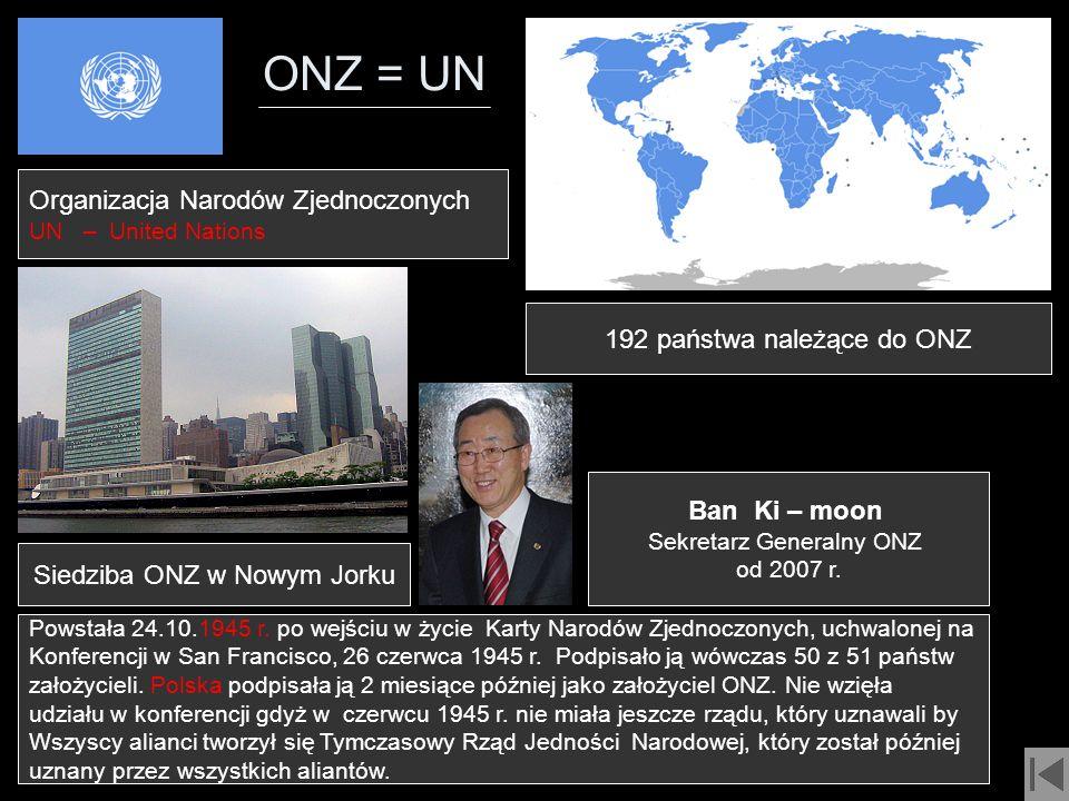 ONZ = UN Organizacja Narodów Zjednoczonych 192 państwa należące do ONZ