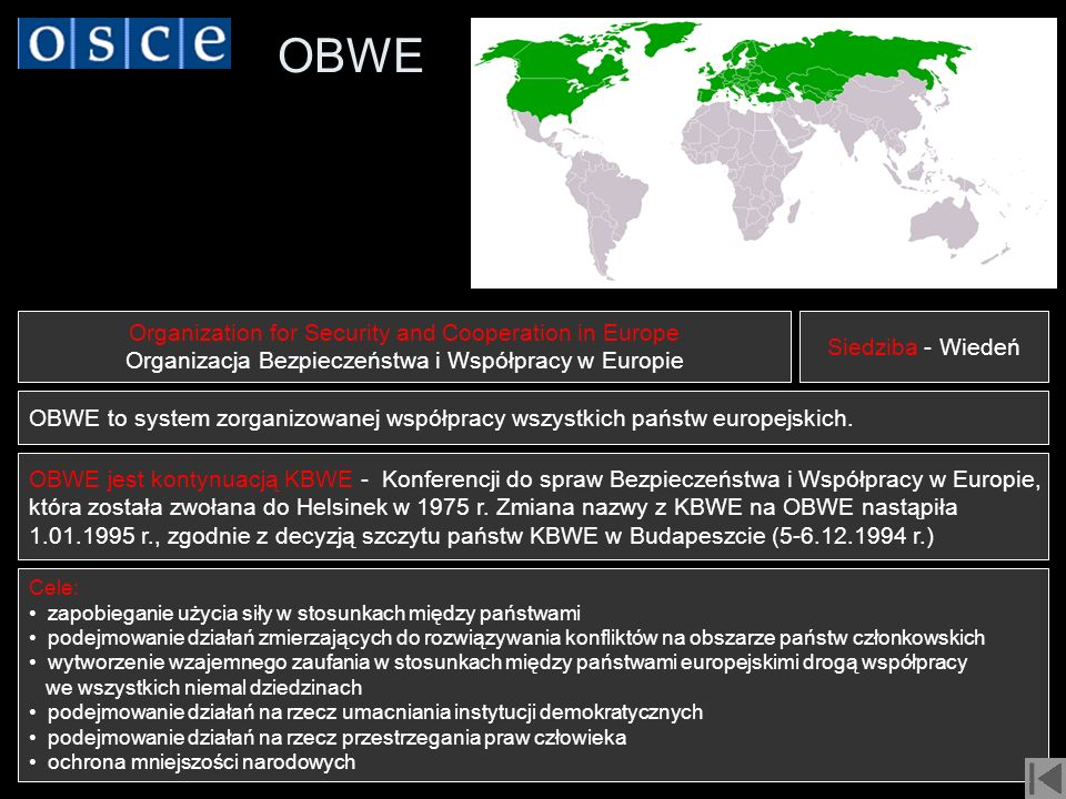 OBWE Organization for Security and Cooperation in Europe