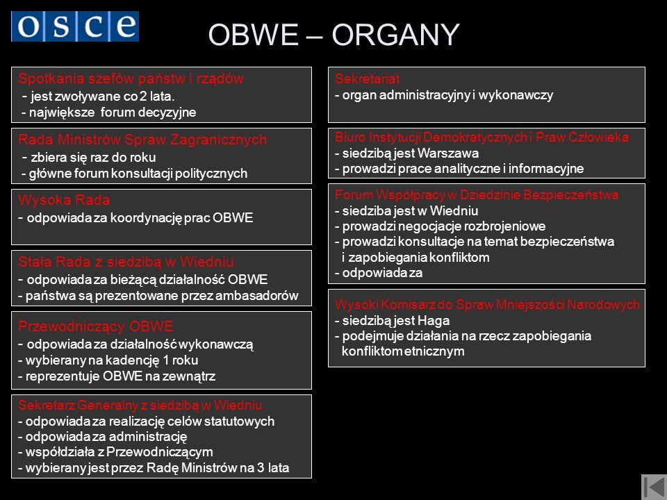 OBWE – ORGANY Spotkania szefów państw i rządów