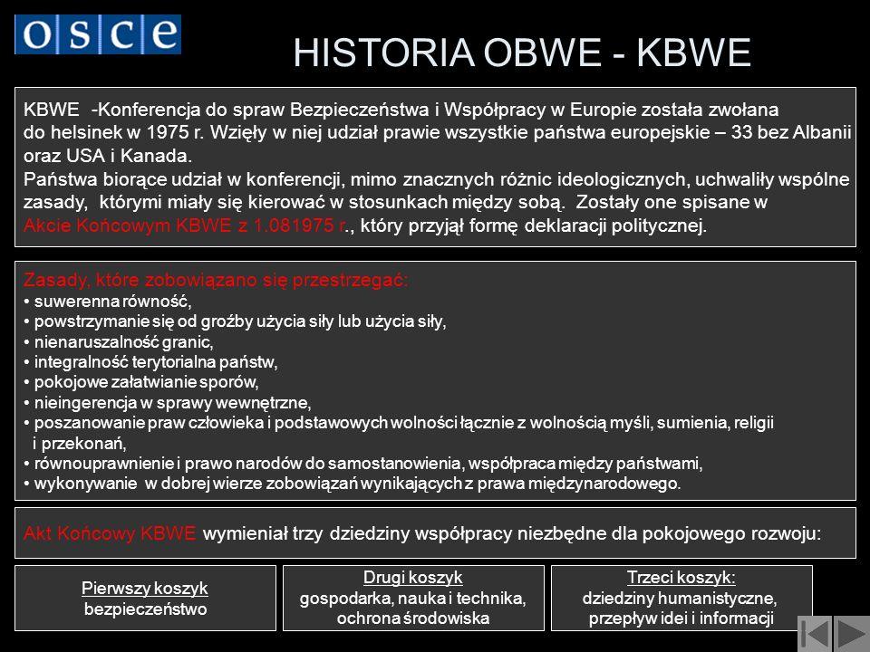 HISTORIA OBWE - KBWE KBWE -Konferencja do spraw Bezpieczeństwa i Współpracy w Europie została zwołana.