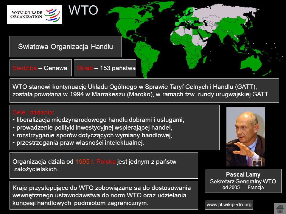 WTO Światowa Organizacja Handlu Siedziba – Genewa Skład – 153 państwa