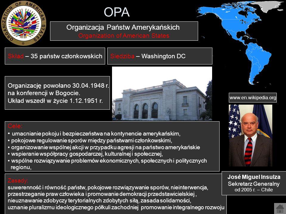 OPA Organizacja Państw Amerykańskich Organization of American States
