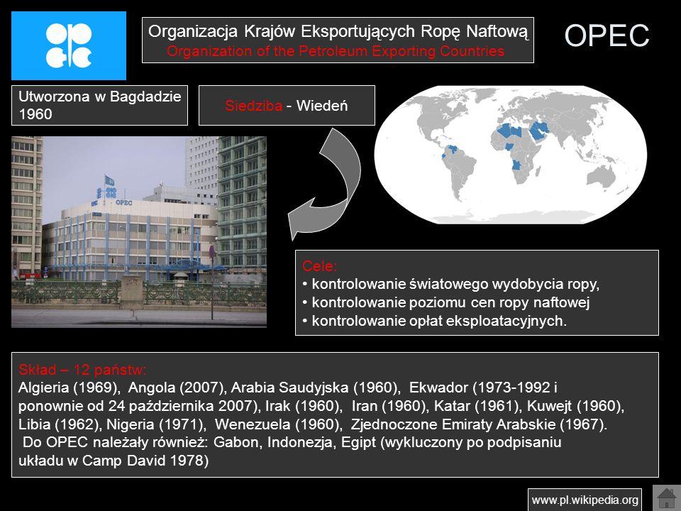 OPEC Organizacja Krajów Eksportujących Ropę Naftową