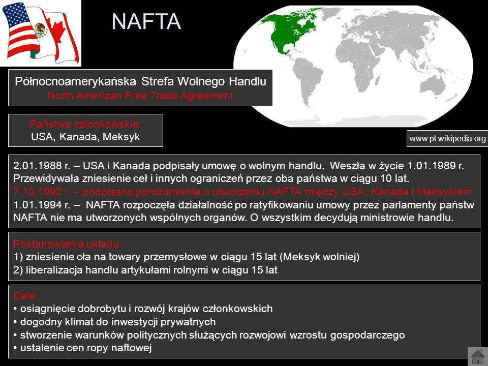 NAFTA Północnoamerykańska Strefa Wolnego Handlu