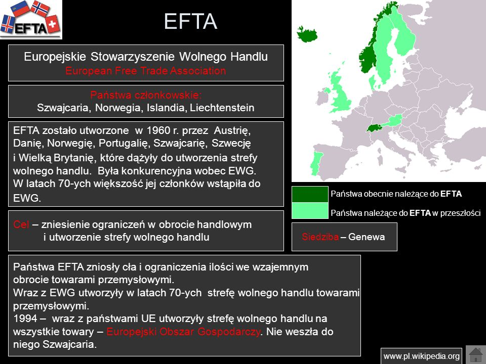 EFTA Europejskie Stowarzyszenie Wolnego Handlu
