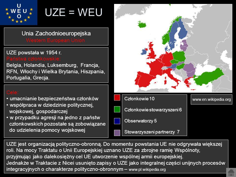 UZE = WEU Unia Zachodnioeuropejska Western European Union