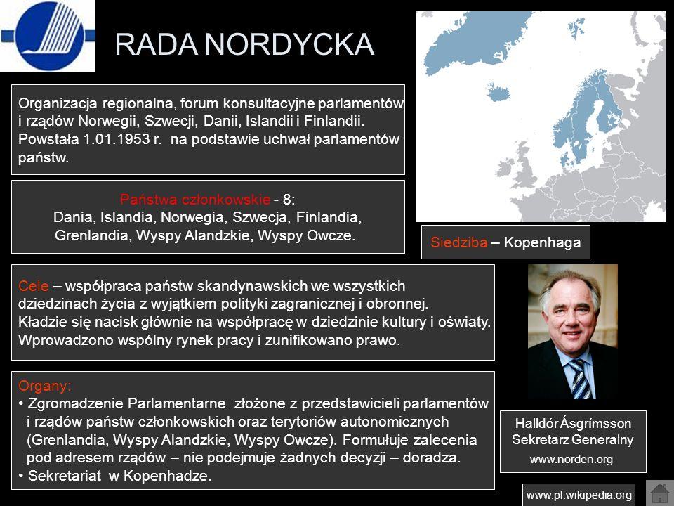 RADA NORDYCKA Organizacja regionalna, forum konsultacyjne parlamentów
