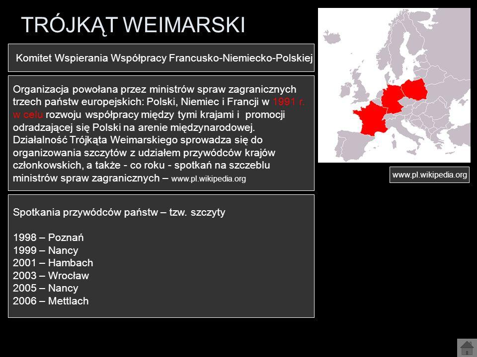 TRÓJKĄT WEIMARSKI Komitet Wspierania Współpracy Francusko-Niemiecko-Polskiej. Organizacja powołana przez ministrów spraw zagranicznych.