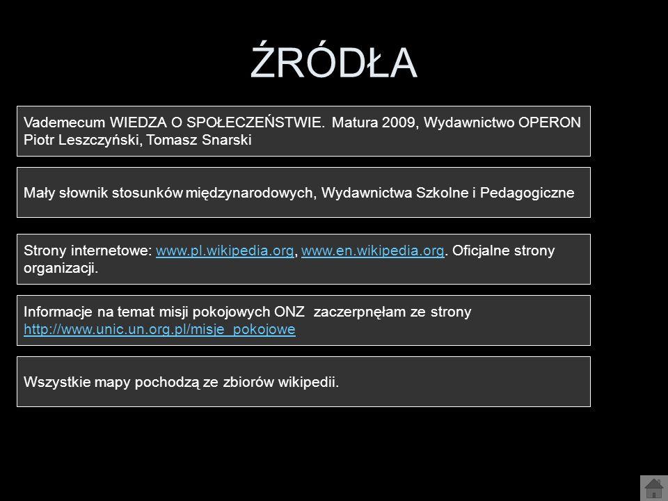 ŹRÓDŁA Vademecum WIEDZA O SPOŁECZEŃSTWIE. Matura 2009, Wydawnictwo OPERON. Piotr Leszczyński, Tomasz Snarski.