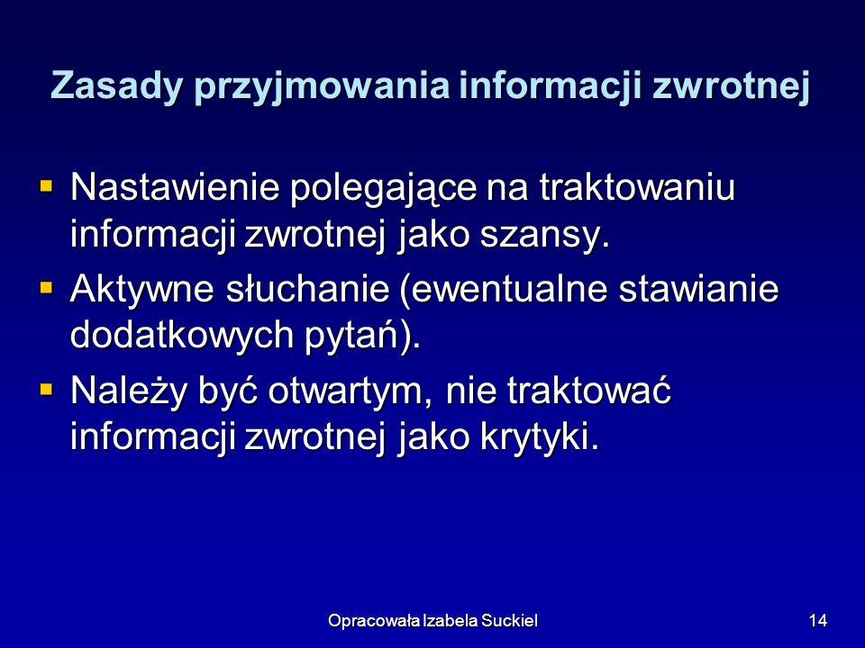 Zasady przyjmowania informacji zwrotnej