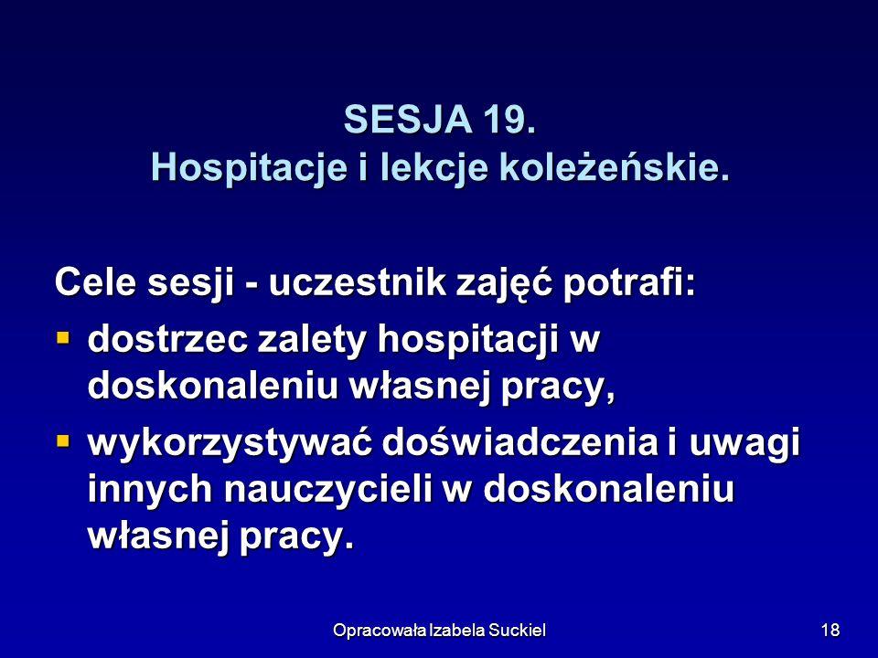 SESJA 19. Hospitacje i lekcje koleżeńskie.