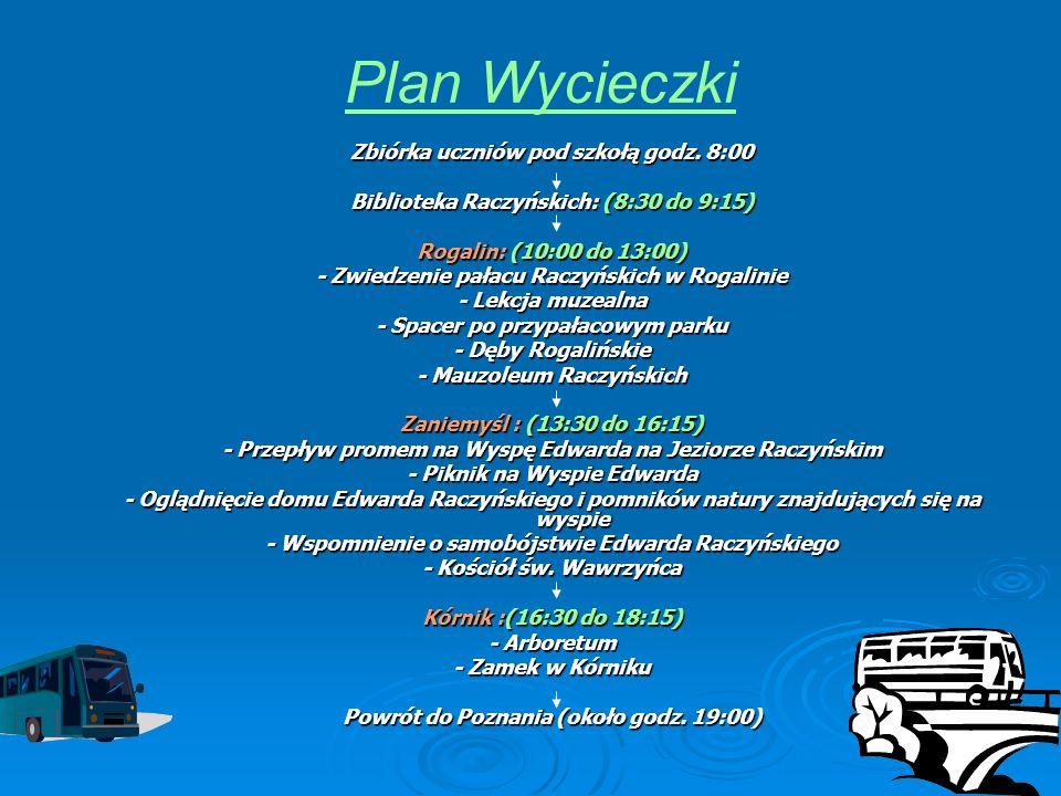 Plan Wycieczki Zbiórka uczniów pod szkołą godz. 8:00