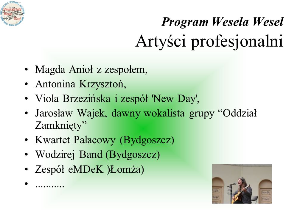 Program Wesela Wesel Artyści profesjonalni