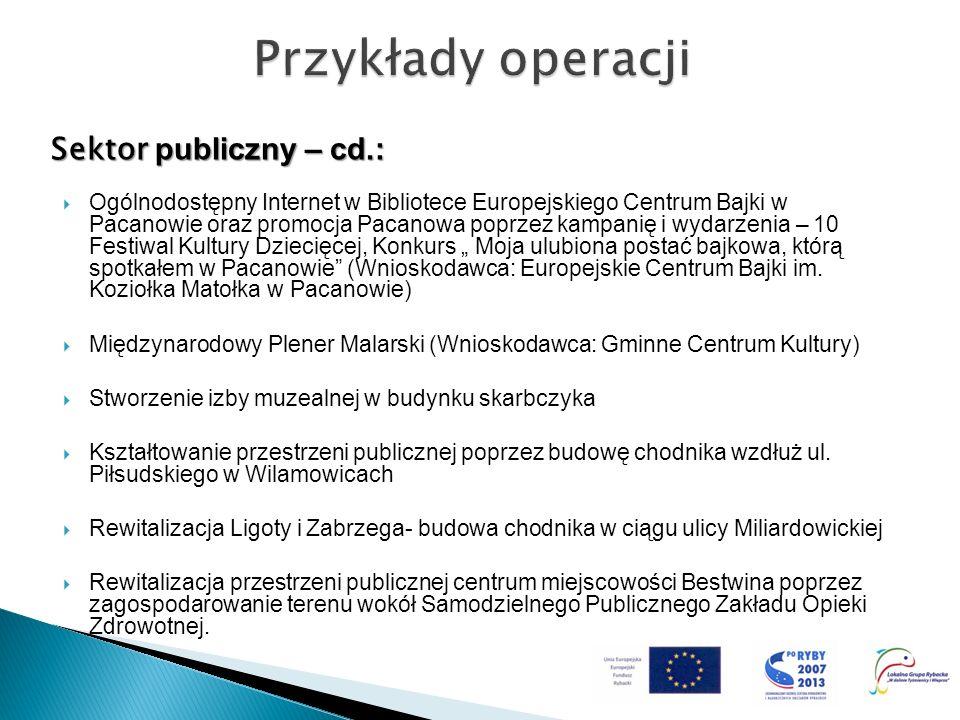 Przykłady operacji Sektor publiczny – cd.: