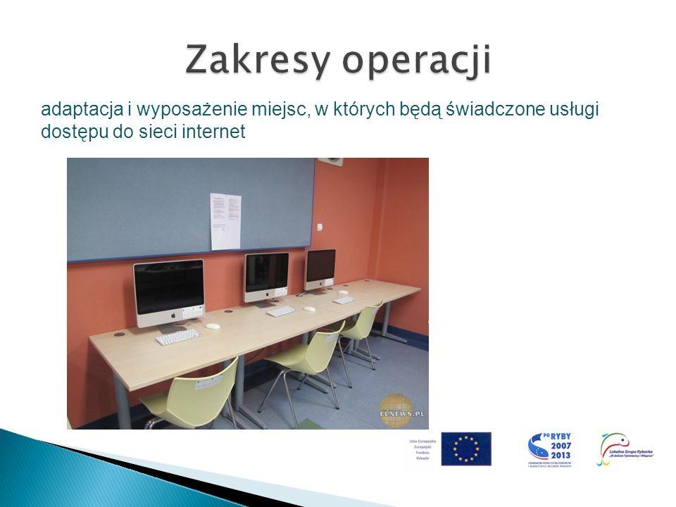 Zakresy operacji adaptacja i wyposażenie miejsc, w których będą świadczone usługi dostępu do sieci internet.