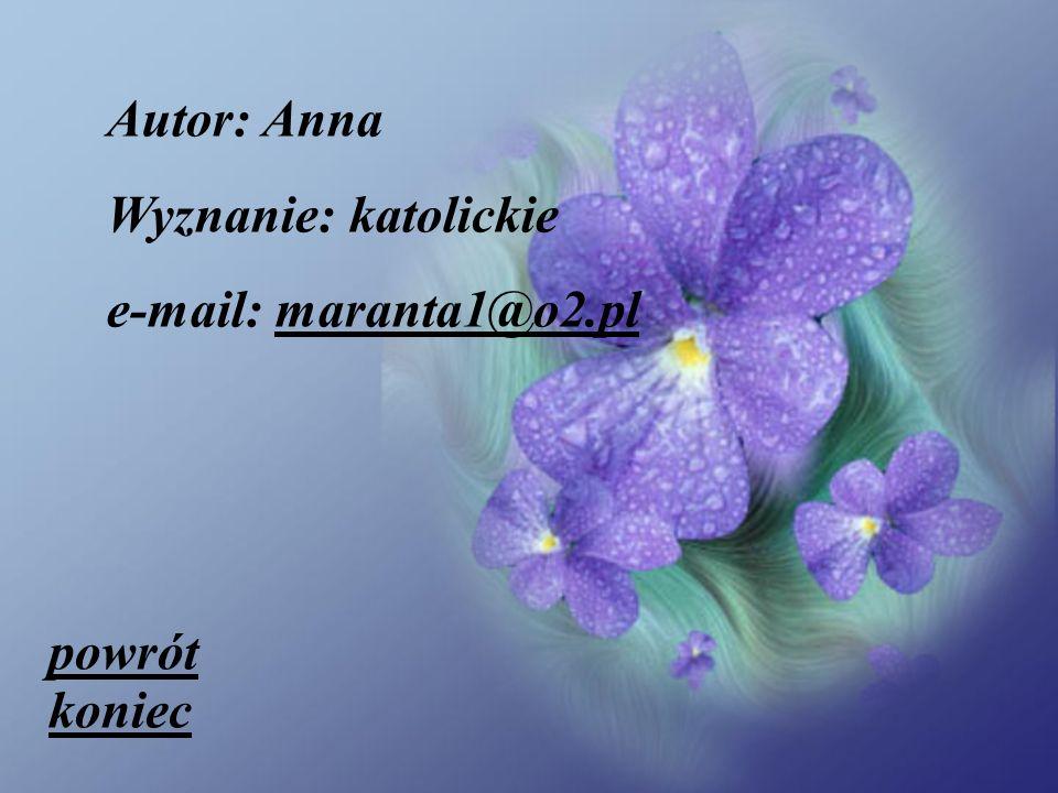 Autor: Anna Wyznanie: katolickie e-mail: maranta1@o2.pl powrót koniec
