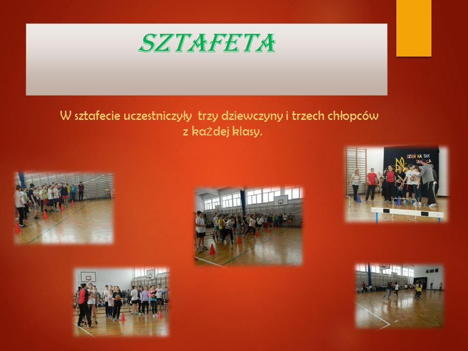 SZTAFETA W sztafecie uczestniczyły trzy dziewczyny i trzech chłopców z każdej klasy.