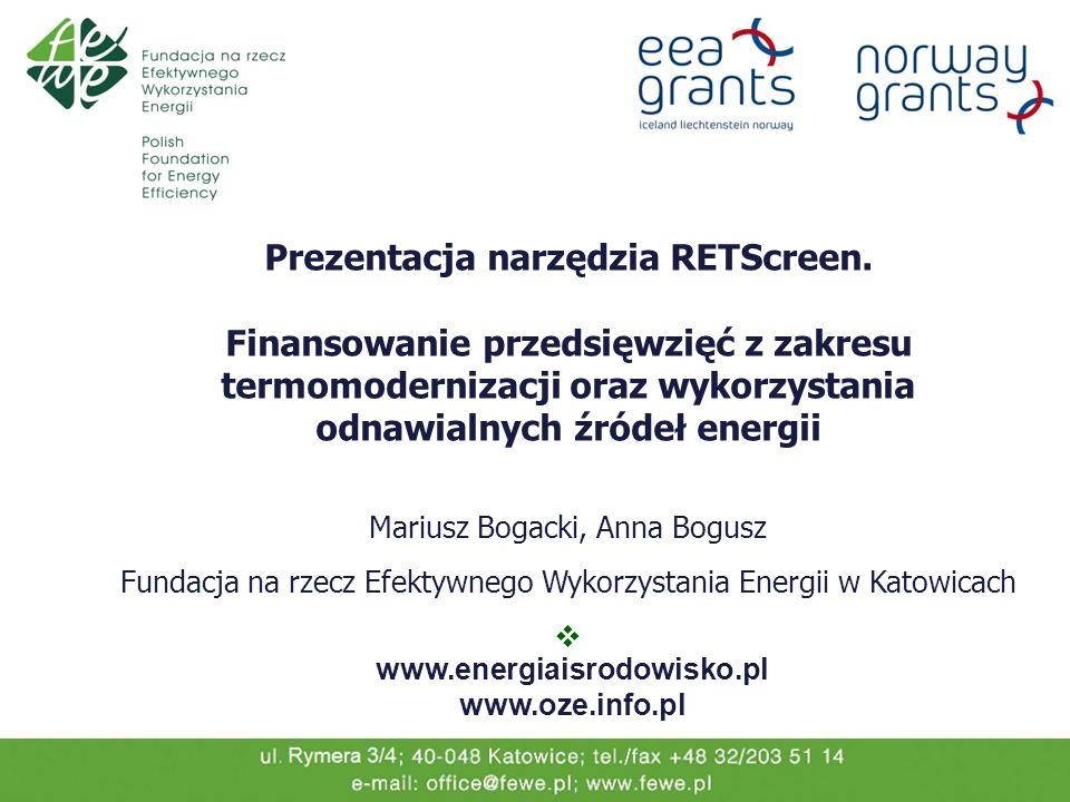 Prezentacja narzędzia RETScreen.