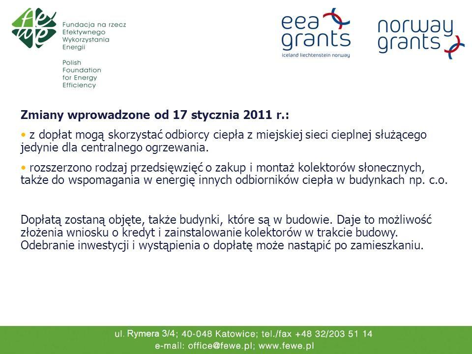 Zmiany wprowadzone od 17 stycznia 2011 r.: