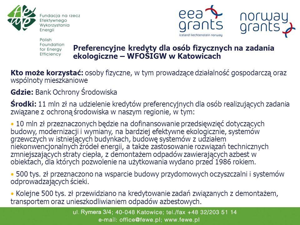 Preferencyjne kredyty dla osób fizycznych na zadania ekologiczne – WFOŚIGW w Katowicach