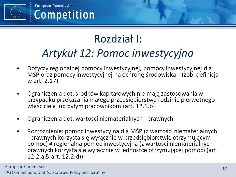 Rozdział I: Artykuł 12: Pomoc inwestycyjna