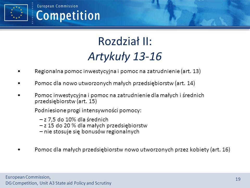 Rozdział II: Artykuły 13-16