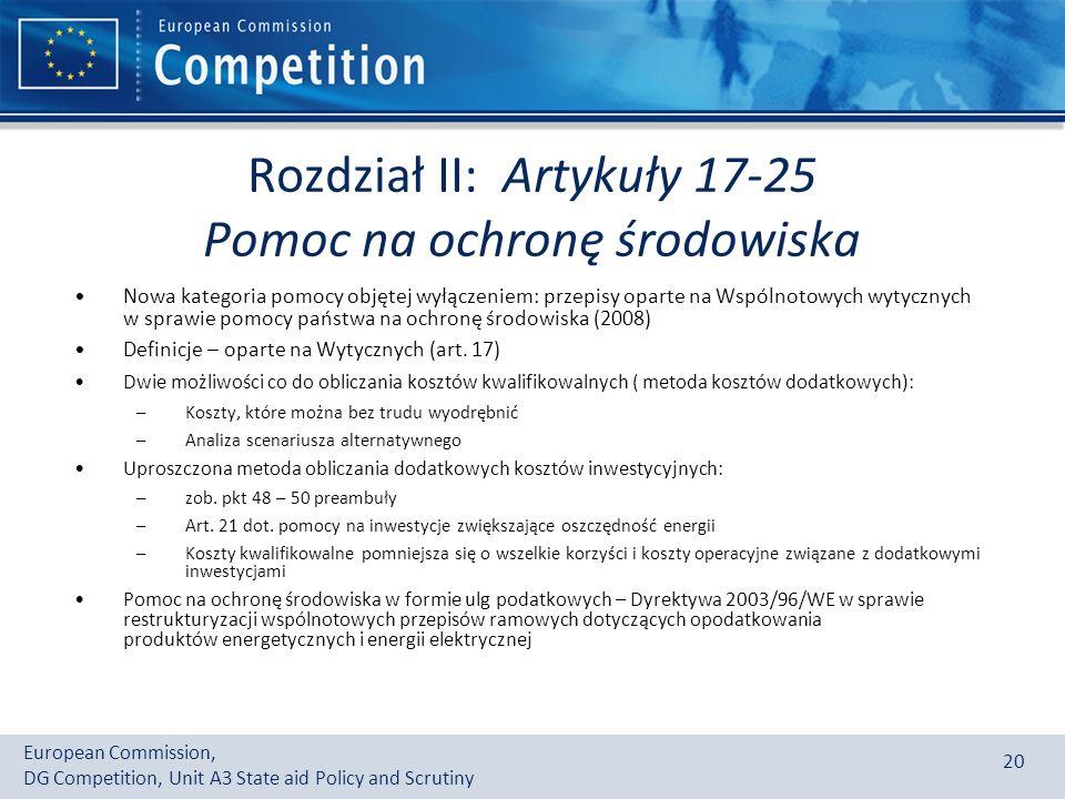 Rozdział II: Artykuły 17-25 Pomoc na ochronę środowiska