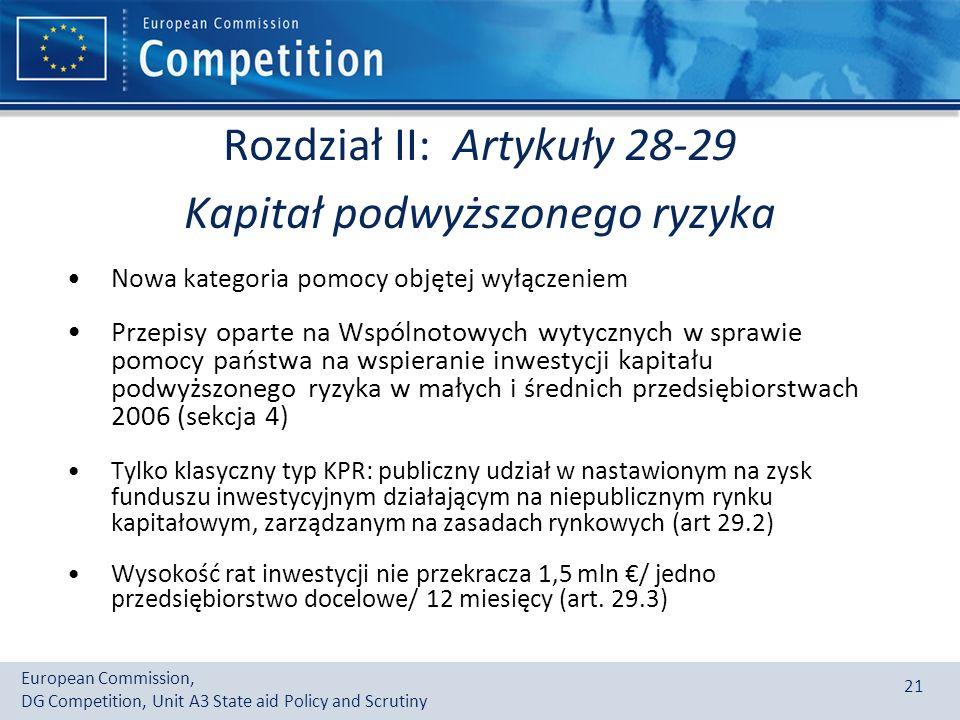 Rozdział II: Artykuły 28-29 Kapitał podwyższonego ryzyka
