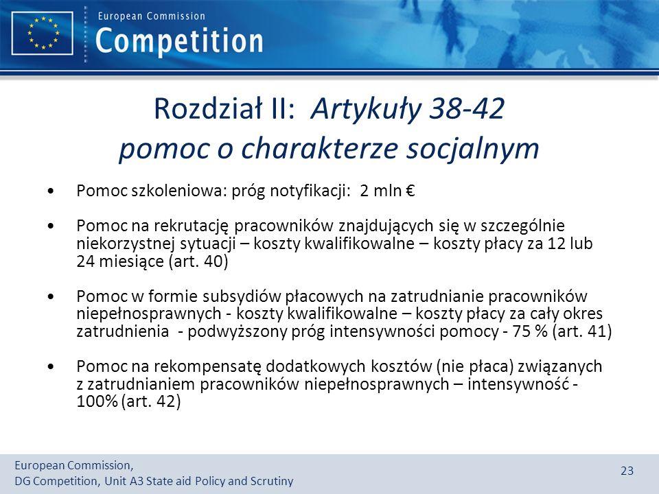 Rozdział II: Artykuły 38-42 pomoc o charakterze socjalnym
