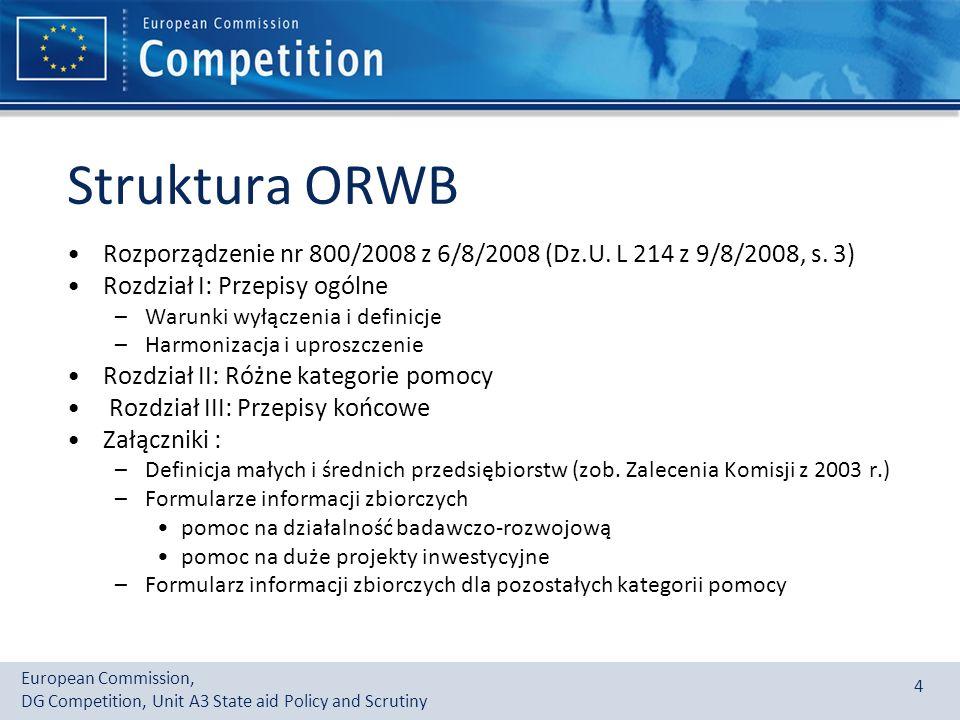 Struktura ORWB Rozporządzenie nr 800/2008 z 6/8/2008 (Dz.U. L 214 z 9/8/2008, s. 3) Rozdział I: Przepisy ogólne.