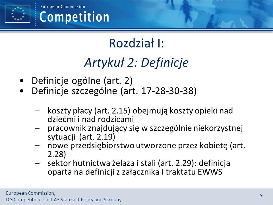 Rozdział I: Artykuł 2: Definicje