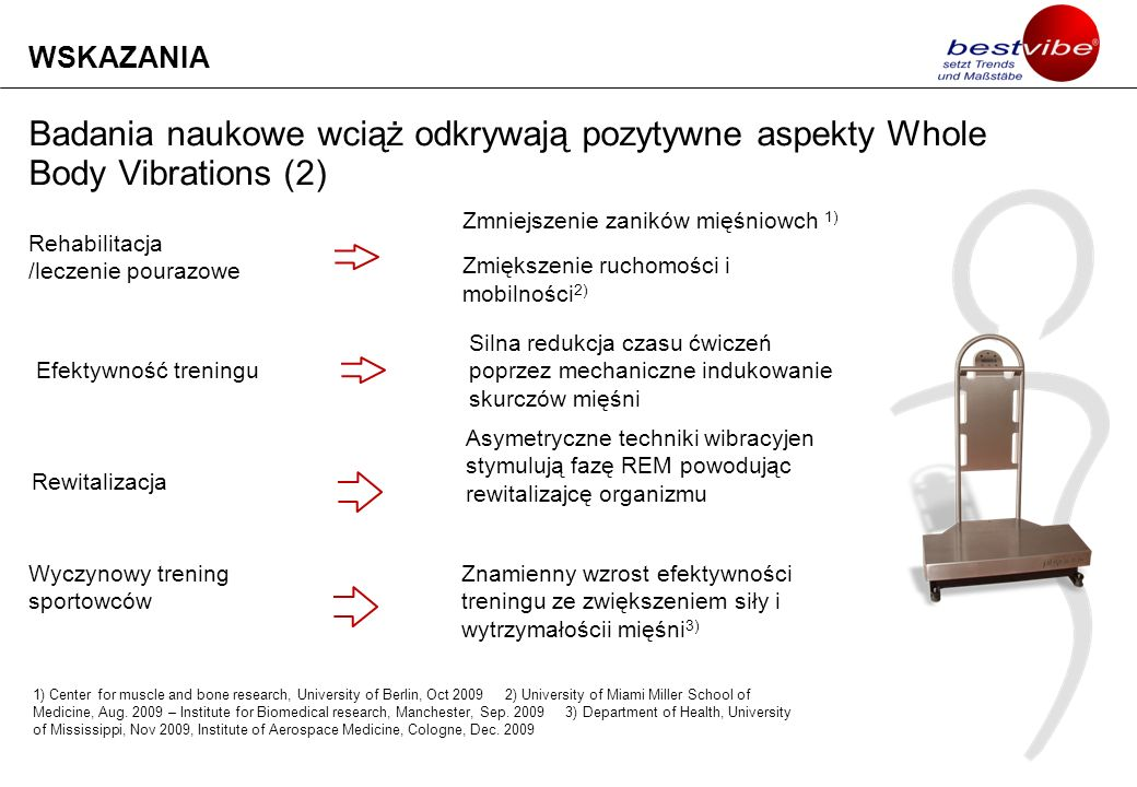 WSKAZANIA Badania naukowe wciąż odkrywają pozytywne aspekty Whole Body Vibrations (2) Rehabilitacja /leczenie pourazowe.