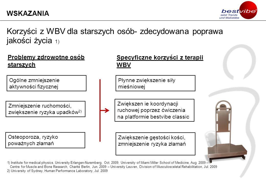 WSKAZANIA Korzyści z WBV dla starszych osób- zdecydowana poprawa jakości życia 1) Problemy zdrowotne osób starszych.
