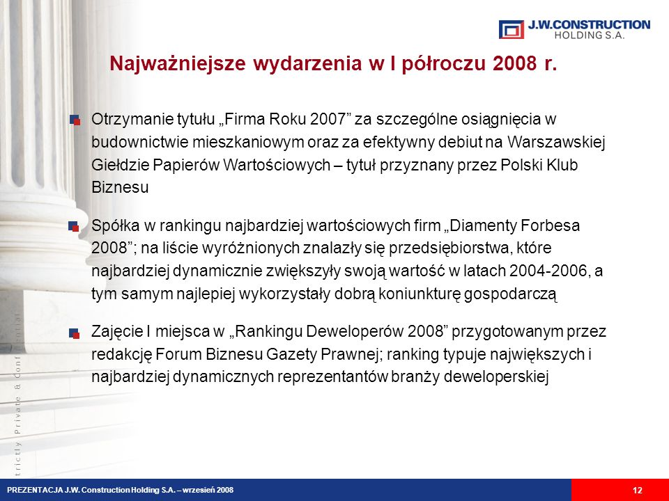 Najważniejsze wydarzenia w I półroczu 2008 r.