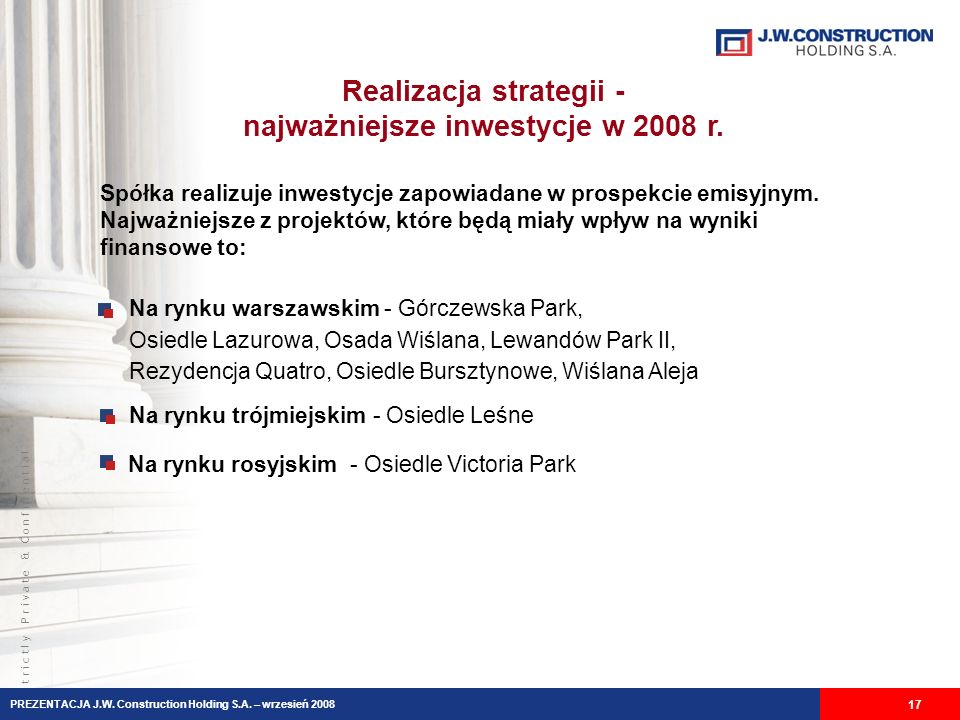 Realizacja strategii - najważniejsze inwestycje w 2008 r.