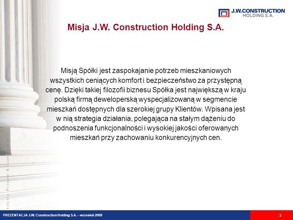 Misja J.W. Construction Holding S.A.