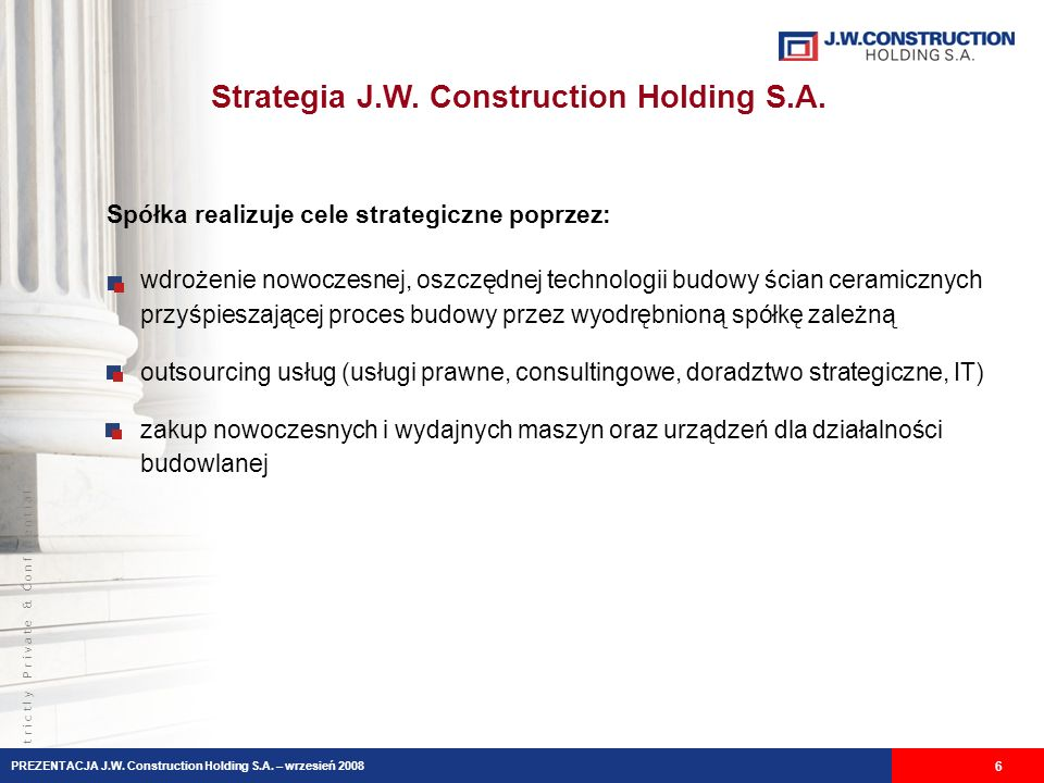 Strategia J.W. Construction Holding S.A.