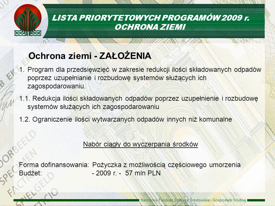 LISTA PRIORYTETOWYCH PROGRAMÓW 2009 r.