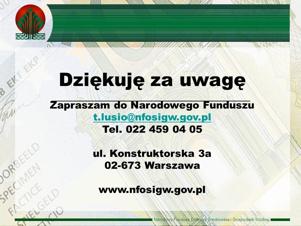 Dziękuję za uwagę Zapraszam do Narodowego Funduszu t.lusio@nfosigw.gov.pl. Tel. 022 459 04 05.