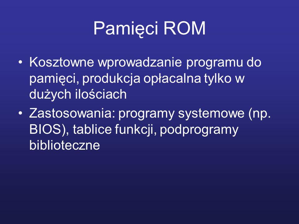 Pamięci ROM Kosztowne wprowadzanie programu do pamięci, produkcja opłacalna tylko w dużych ilościach.