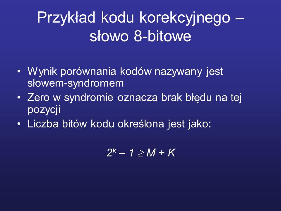 Przykład kodu korekcyjnego – słowo 8-bitowe