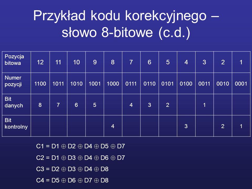 Przykład kodu korekcyjnego – słowo 8-bitowe (c.d.)