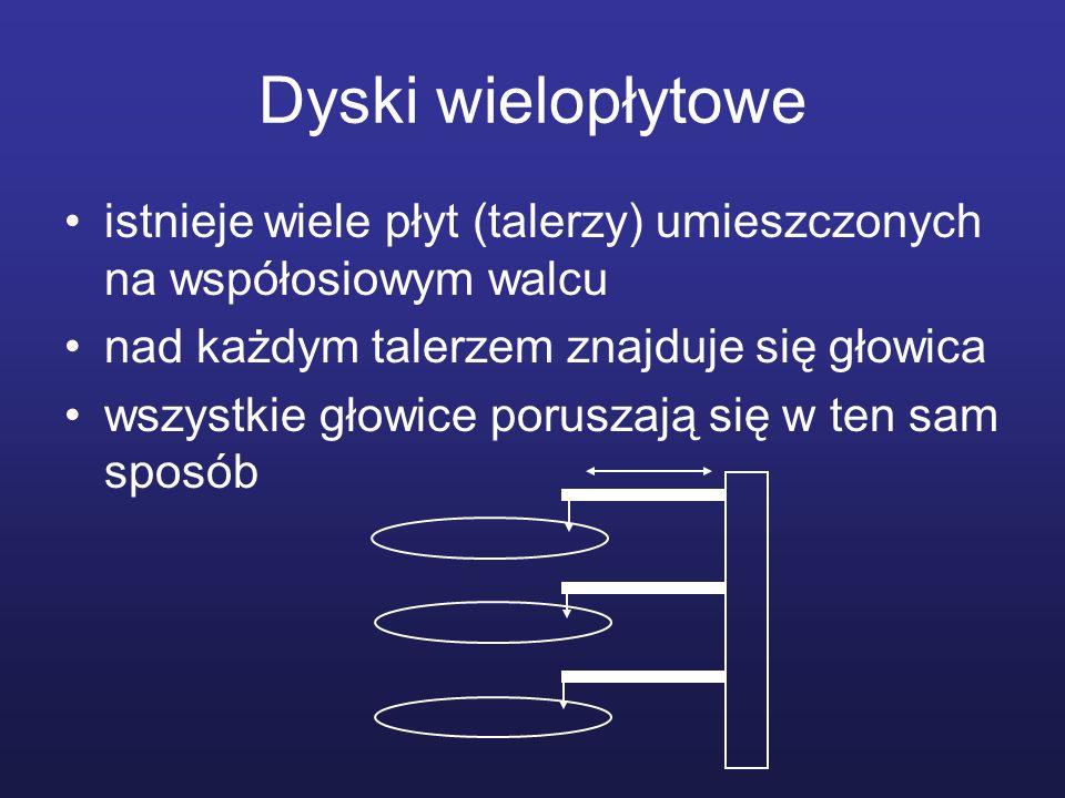 Dyski wielopłytowe istnieje wiele płyt (talerzy) umieszczonych na współosiowym walcu. nad każdym talerzem znajduje się głowica.